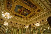 Hall of mirrors, Gran Teatre del Liceu, opera house, La Rambla, Ciutat Vella, Barcelona, Catalonia, Spain