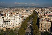 La Rambla, bird eye view from Monument a Colom, Les Rambles, Ciutat Vella, Barcelona, Spanien