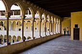cloistered courtyard, Monestir de Pedralbes, gotic abbey, Pedralbes, Barcelona, Spanien