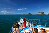 People on the ferry from Ao Nang to Ko Phi Phi, Krabi, Thailand