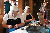 Two Women sewing traditional Costumes, Farmhouse Gutach Valley, Schwarzwälder Freilichtmuseum Vogtsbauernhof, Black Forest