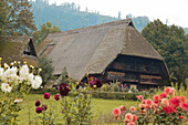 Historical Black Forest Farmhouse with Flower Garden, Gutach, Black Forest, Germany