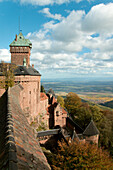 Castle Hochkoenigsburg with view on Rhinevalley, near Schlettstadt, Elsass, France
