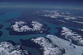 Aerial view of Lago Argentino, Perito Moreno Glacier, Los Glaciares Natinal Park, Patagonia, Argentina