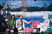 Hispanic people, flowers and Golden Gate Bridge, Mural on the wall of a building, Mission District, San Francisco, California, USA