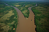 Aerial Photo, Delta of river Rio Parana with Freighter, Buenos Aires, Argentina, South America