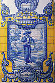 Decorative tiles with a picture of an Alentejo Farmer, Alentejo, Portugal