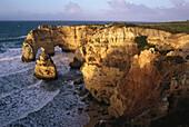 Rocky cliffs and coastal landscape, Praia da Marina, Carvoeiro, Algarve, Portugal