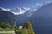 View to Soglio, Sciora mountain range in background, Soglio, Val Bregaglia, Grisons, Switzerland
