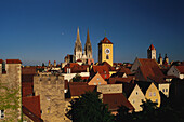 Towers and roofs of Regensburg's medieval Old Town, Upper Palatinate, Bavaria, Germany