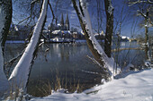 View over river Danube to Regensburg in winter, Regensburg, Bavaria, Germany