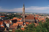 Towers and roofs of the medieval town surrounding the brick church and tower of St Martin, Landshut, Lower Bavaria, Germany