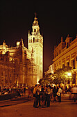 People standing in front of the illuminated cathedral Santa Maria de la Sede and its church tower at night, Plaza del Triunfo, Seville, Andalusia, Spain