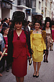 Young women wearing black lace mantillas in a procession during a festival, Lucena, Cordoba province, Andalusia, Spain