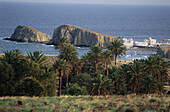 La Isleta Peninsula with rocks and white cubic houses being situated behind palm trees in the Mediterranean Sea, Natural Park Cabo de Gata-Nijar, Almeria province, Andalusia, Spain