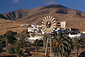 Village with wind wheel, Toto, Fuerteventura, Canary Islands, Spain