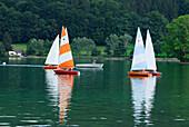 Sailing boats on lake Mattsee, Salzburg, Austria