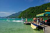 Landing stage of water ski school at lake Abersee (lake Wolfgangsee), Salzkammergut, Salzburg, Austria