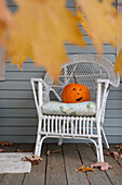 Halloween decoration on a porch in New England, ,USA