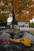 Street in New Preston in Autumn, New Preston, Connecticut, New England, United States of America, USA