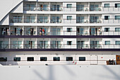 Passengers on Balconies of  Cruiseship Seven Seas Voyager, Port of Civitavecchia, near Rome, Lazio, Italy
