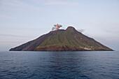 Eruption Smoke from Stromboli Volcanic Island, Mediterranean Sea, near Lipari, Aeolian Islands, near Sicily, Italy