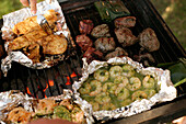 Close up of seafood and meat on the barbecue, Lake Woerthsee, Upper Bavaria, Bavaria, Germany