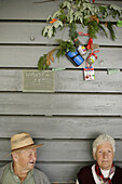 Elderly Man and woman in a cafe on the lake shore, Wesslinger See, Upper Bavaria, Bavaria, Germany