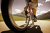 Close-up of a mountain bike, Dolomite Alps, Toblach, Trentino-Alto Adige/Südtirol, Italy