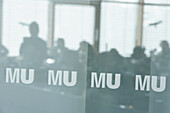 View through labeled pane to students during a course, Biozentrum of the Ludwig-Maximilians-University (LMU), Martinsried, Planegg, Bavaria, Germany