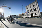 View over street Ludwigstrasse to main building of the Ludwig-Maximilians-University, Munich, Bavaria, Germany