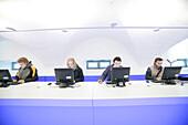 Students working on computers in the Uni Lounge, University, Ludwig Maximilians Universität, Munich, Bavaria, Germany