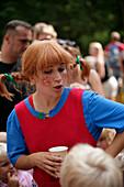 Actress dressed up as Pippi Langstrumpf, Astrid Lindgren World, Vimmerby, Smaland, Sweden