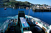 Cars and bus on ferry, Mallaig Harbour, Inverness-shire, Scotland, United Kingdom