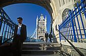 Pedestrian, the Tower Bridge. London. England. UK.