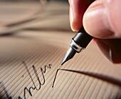 Action, Activity, Business, Close up, Close-up, Closeup, Color, Colour, Concept, Concepts, Corporate, Detail, Details, Document, Documents, Finger, Fingers, Fountain pen, Fountain pens, Horizontal, Identity, Indoor, Indoors, Inside, Interior, Pen, Pens,