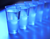 Beverage, Beverages, Blue, Blue tone, Color, Colour, Concept, Concepts, Drink, Drinks, Full, Glass, Glasses, Horizontal, Indoor, Indoors, Inside, Interior, Lined up, Lined-up, Many, Monochromatic, Monochrome, Object, Objects, Still life, Thing, Things, T