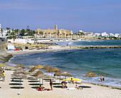 Beach with the Ribat (monastery-fortress) in background. Monastir. Tunisia