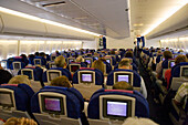 Economy class of Boeing 747, the Jumbo Jet
