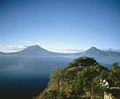 San Pedro and Tolimán volcanoes. Lake Atitlán. Guatemala.