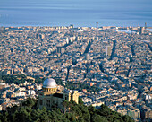 The city of Barcelona, with the Fabra Observatory. Spain