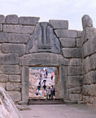 Lion Gate, entrance to ruins of the ancient city of Mycenae. Greece