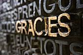 Carved writing, La Sagrada Familia, Barcelona, Spain