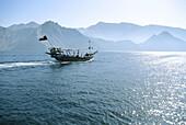 Dhow. Touring. Strait of Ormuz. Musandam Peninsula. Persian Gulf. Oman