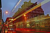 Ritz Hotel. Picadilly Street. Traffic. London. England. UK.