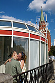 Soldier kissing girlfriend. Kremlin. Moscow. Russia