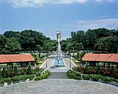 Merlion statue and ornamental gardens. Sentosa Island, Singapore