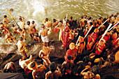 Sadhus taking holy dip during the Kumbh Mela (2003). Trimbakeshwar, near Nasik. Maharashtra. India