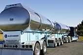 Truck transporting wine. South Island, New Zealand