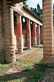 Atrium (courtyard) of House with Telephus relief, ruins of the old Roman city. Herculaneum. Italy